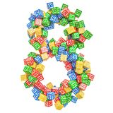 Number 8, from ABC Alphabet Wooden Blocks. 3D rendering royalty free illustration