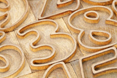 Number abstract in letterpress type Stock Image