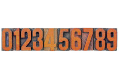 Number abstract in wood type Royalty Free Stock Photo