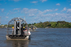 Number of airboats with tourists Stock Image
