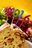 Number 2016, as the new year, on a fruitcake Stock Photos