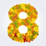 Number 8 of the autumn leaves Stock Photo