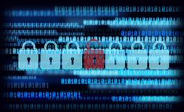 01 number background and lock. For concept of compter security Stock Photo