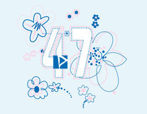 Number with backstitching. Design infantile feminine managing a sport concept Royalty Free Stock Photos