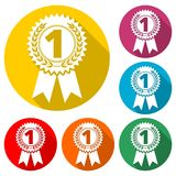 Number 1 badge, Award black icon, color icon with long shadow. Simple vector icons set Royalty Free Stock Image