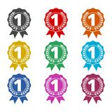 Number 1 badge, Award black icon, color icons set. Simple vector icon Royalty Free Stock Image