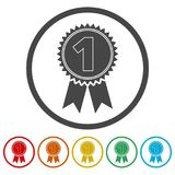 Number 1 badge, Award icon, Award sign, 6 Colors Included. Simple vector icons set Stock Images