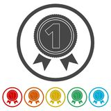 Number 1 badge, Award icon, Award sign, 6 Colors Included. Simple vector icons set Royalty Free Stock Photos