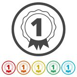 Number 1 badge, Award icon, Award sign, 6 Colors Included. Simple vector icons set Stock Photos