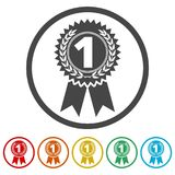 Number 1 badge, Award icon, Award sign, 6 Colors Included. Simple  icons set Royalty Free Stock Image
