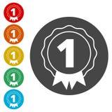 Number 1 badge, Award icon, Award sign. Simple  icons set Royalty Free Stock Photo