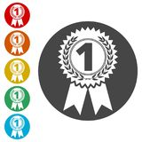 Number 1 badge, Award icon, Award sign. Simple vector icons set Royalty Free Stock Image
