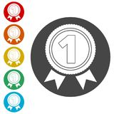 Number 1 badge, Award icon, Award sign. Simple  icons set Royalty Free Stock Photography