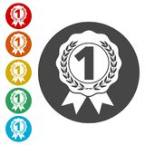 Number 1 badge, Award icon, Award sign. Simple  icons set Stock Images