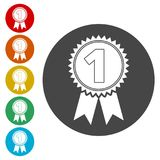 Number 1 badge, Award icon, Award sign. Simple vector icons set Royalty Free Stock Photo