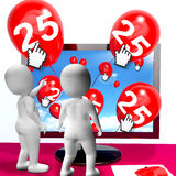 Number 25 Balloons from Monitor Show Internet Invitation or Cele Stock Images