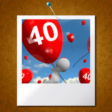 Number 40 Balloons Photo Shows Fortieth Happy Birthday Celebrati Royalty Free Stock Image