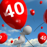 Number 40 Balloons Shows Fortieth Happy Birthday Royalty Free Stock Images