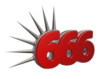 Number of the beast. Number six six six with prickles on white background - 3d  illustration Stock Photo