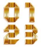 Number belägger med metall guld- band - 0,1,2,3 Arkivbilder