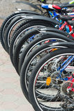 number of bicycle wheels outdoor Royalty Free Stock Images