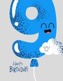 Funny Happy birthday gift card number 9 balloon. The number for birthday greeting card. Vector graphics stock illustration
