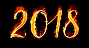 Number On Black Background New Year 2018 Flaming/ Stock Photography
