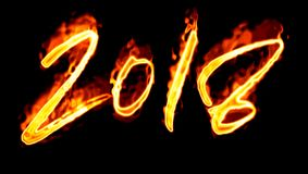 Number On Black Background New Year 2018 Flaming/ Royalty Free Stock Photography