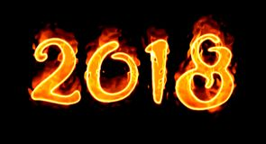 Number On Black Background New Year 2018 Flaming/. Happy New Year 2018 with flaming fire burn and the black background isolated Stock Photos