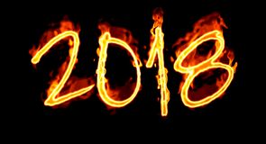 Number On Black Background New Year 2018 Flaming/ Royalty Free Stock Photo