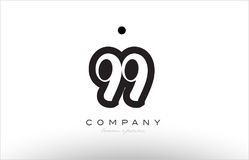 99 number logo icon template design. 99 number black white bold logo vector creative company icon design template hand written background Royalty Free Stock Photography