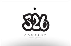 326 number logo icon template design. 326 number black white bold logo vector creative company icon design template hand written background Royalty Free Stock Images