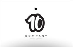 10 number logo icon template design. 10 number black white bold logo vector creative company icon design template hand written background Royalty Free Stock Photography