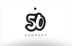 50 number logo icon template design. 50 number black white bold logo vector creative company icon design template hand written background Royalty Free Stock Photography