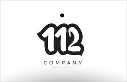 112 number logo icon template design. 112 number black white bold logo vector creative company icon design template hand written background Stock Photography