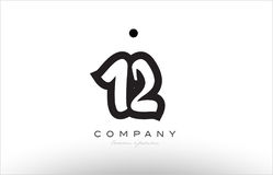 12 number logo icon template design. 12 number black white bold logo vector creative company icon design template hand written background Royalty Free Stock Photography