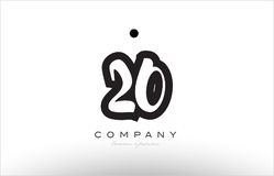 20 number logo icon template design. 20 number black white bold logo vector creative company icon design template hand written background Stock Photo