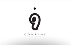9 number logo icon template design. 9 number black white bold logo vector creative company icon design template hand written background Stock Photos