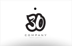 30 number logo icon template design. 30 number black white bold logo vector creative company icon design template hand written background Stock Images