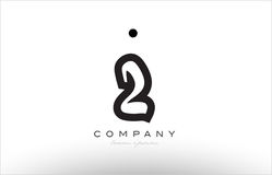 2 number logo icon template design. 2 number black white bold logo vector creative company icon design template hand written background Royalty Free Stock Photos