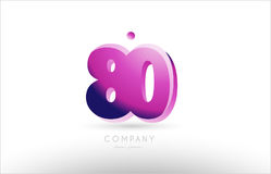 Number 80 black white pink logo icon design. Number 80 black white pink bold logo vector creative company icon design template 3d background Royalty Free Illustration