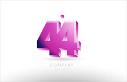 Number 44 black white pink logo icon design. Number 44 black white pink bold logo vector creative company icon design template 3d background Stock Image