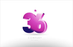 Number 36 black white pink logo icon design. Number 36 black white pink bold logo vector creative company icon design template 3d background Stock Photography