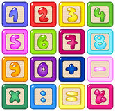 Number blocks. Colorful number kids blocks set stock illustration
