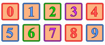 Number Blocks. A set of colored number blocks Royalty Free Stock Photography