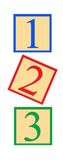 Number Blocks. Three number blocks - 1, 2, and 3, on white background Stock Photography