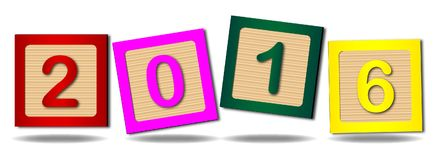 2016 Number Blocks. Wooden blocks with numbers 2016 over a white background Royalty Free Illustration