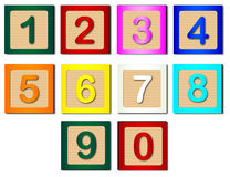Number Blocks. Wooden blocks with numbers 1 to 0 stock illustration