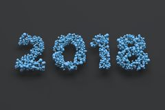 2018 number from blue balls on black background. 2018 new year sign. 3D rendering illustration Stock Image