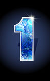 Number blue shine design. Blue frost winter number one on dark background . Blue frost illustration number 1 for winter 2017 date design. Number 1 icon. Vector Stock Images